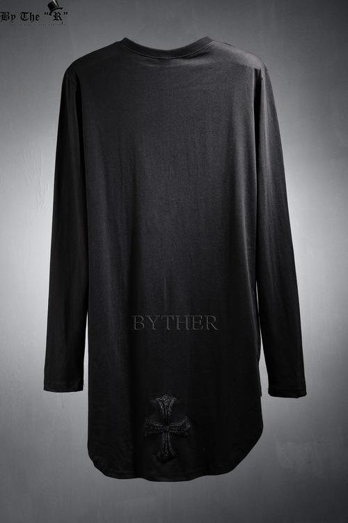 ByTheR 백 송치 크로스 언발란스 라운딩 티셔츠